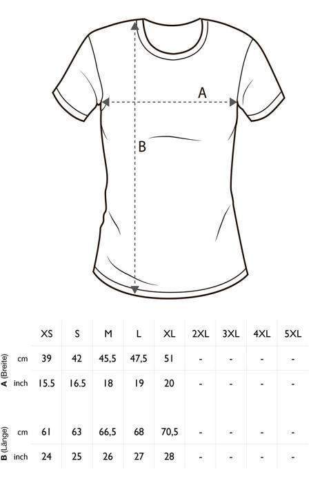 Größentabelle Damen T-Shirt einfarbig Rundhals